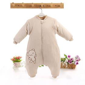 【婴儿睡袋】婴儿睡袋秋冬季加厚防踢被儿童分腿睡袋有机彩棉纯棉宝宝可拆袖