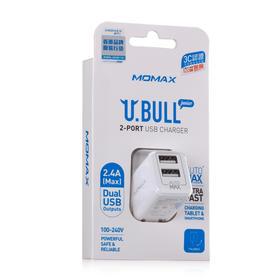 MOMAX摩米士小白智能充电器双多口USB 手机充电器头2.4A通用 精致小巧 智能分流 3C认证 折叠插头 智能快充