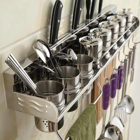 【厨房用品】304不锈钢置物架 厨房收纳架 菜刀架 调味料架 壁挂式无护栏款