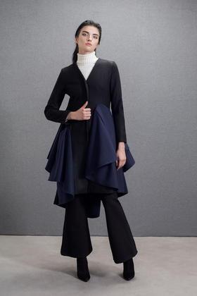设计师品牌羊毛大衣层次荷叶边拼接压褶呢大衣中长款