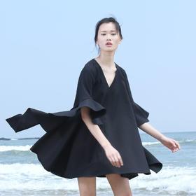 SYUSYUHAN原创设计独特立体喇叭荷叶袖子宽松大摆春夏新品连衣裙