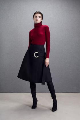 羊毛呢复合面料金属环装饰挺括A摆冬装中裙半裙