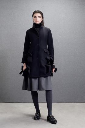 设计师款羊毛复合双层面料挺括手工蝴蝶结毛呢子大衣