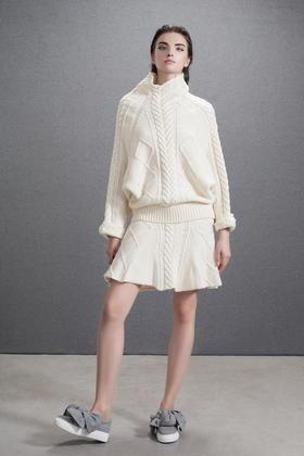 羊毛粗针重工帅气英伦风短裙喇叭裙伞裙扭花半裙
