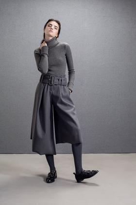 设计师帅气绅士灰不对称腰带阔脚九分裤大脚裤秋冬