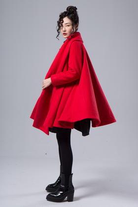 设计师法式浪漫羊毛5米大裙摆厚重围巾领毛呢外套女