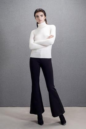 弹力修身显瘦复古时髦女人味喇叭裤长裤