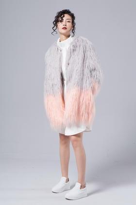 SYU HAN原创 手感细腻柔软高仿真环保皮草柔美配色皮草大衣外套