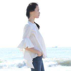 立体喇叭荷叶袖高密精纺纯棉春夏衬衣短袖上衣