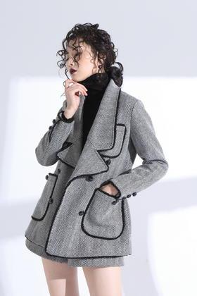 SYU HAN原创 永远优雅经典的人字纹镶边精工双排扣西装呢外套