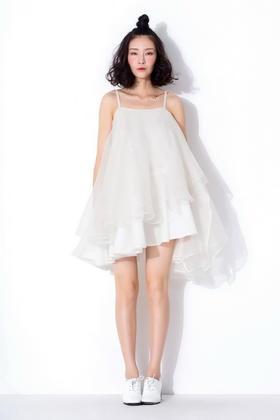 原创设计华丽浮夸多层次立体不规则连衣裙真丝礼服