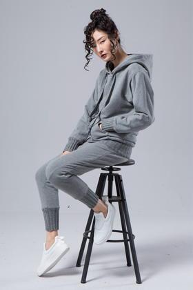 SYU HAN原创 羊毛粗针螺纹脚口高品质抓绒弹力卫衣面料双层裤子