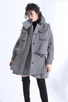 设计师羊毛复合超厚实挡风帅气高领呢子大衣羔羊绒