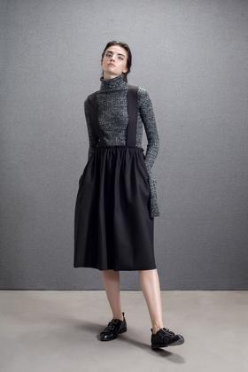 设计师复合双层面料挺括文艺复古气质荷叶背带半裙