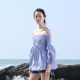 设计师经典纯棉衬衣面料特殊工艺抽褶度假上衣条纹