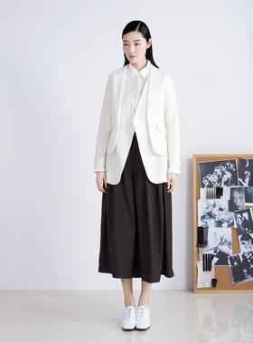 设计师款传统西装改良设计两件式独特个性苎麻西装外套