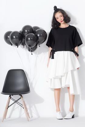 SYU HAN原创设计 浮夸挺括 多层次不对称不规则剪裁大摆裙半裙