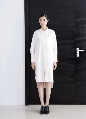 设计师独家定制高端精品棉 燕尾摆开衩文艺挺括长衬衫