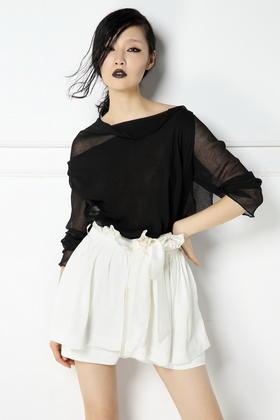 SYU HAN原创设计 超舒适天丝麻 度假风荷叶边褶皱裤裙短裤阔脚裤