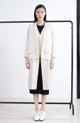 西服改良设计层次感两件套双层门襟开衩长外套风衣