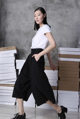 SYU HAN原创设计 特立独行 凉爽天丝麻打褶阔腿七分裤裙裤大脚裤