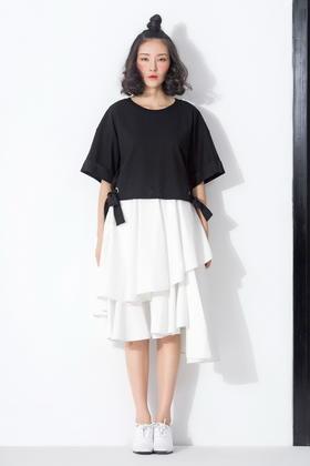 原创设计针织百搭系蝴蝶结短和服式宽袖上衣T