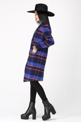 原创设计纯羊毛含马海毛长毛感长款呢子大衣外套格子