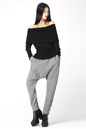原创设计冬装经典百搭针织小脚哈伦裤垮裤吊裆裤羊毛呢