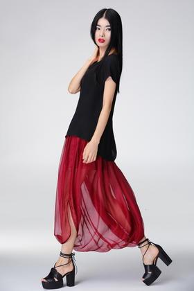 SYU HAN原创设计 真丝褶皱透视超舒适裙裤吊裆裤跨裤 两色