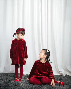[包邮]Natunakids纳桔美好的节日与愿望红色天鹅绒娃娃裙 包邮