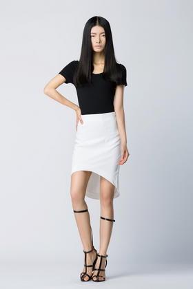 SYU HAN原创高端 黑白两色百搭显瘦包臀女人味个性拱形半裙OL短
