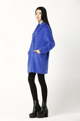 设计师独家定制高级纯羊毛长毛绒呢子茧形外套 彩蓝