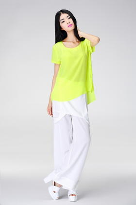 SYU HAN原创设计 蚕丝前短后长不对称设计舒适上衣
