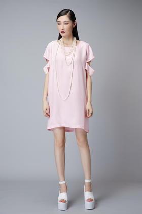 设计师简约舒适百搭通勤 环保铜氨丝独特袖子连衣裙OP