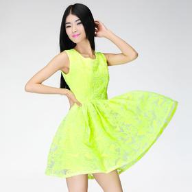 双12亲亲节设计师独家定制高端 荧光色收腰连衣裙欧根纱绣花面料