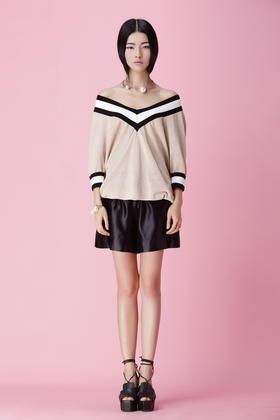 SYU HAN原创设计 薄天丝纱透视感露肩深V领学院风宽松度假针织衫
