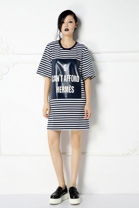SYU HAN原创设计 简约舒适 纯棉色织条纹针织印花宽松直筒连衣裙