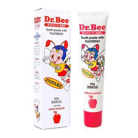 小蜜蜂Dr. Bee日本原装100ppm NaF氟素儿童牙膏 苹果味45g0-3-6岁