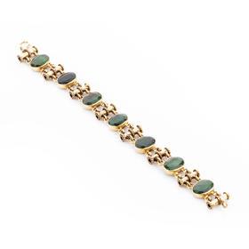 宫廷风格玉石手链 材质: 925银镀18K金 玉石老料