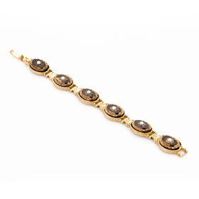 拜占庭旋律手链 材质: 铜镀18K金 珐琅  珍珠