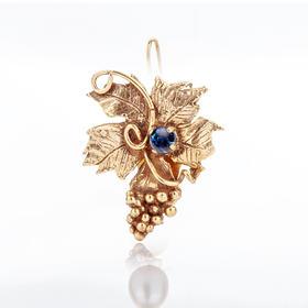 葡萄宝石耳夹  材质: 铜镀18K金 翠石