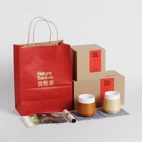 自然家 原创设计 竹丝扣瓷瓷胎竹编竹节杯 新年送礼首选