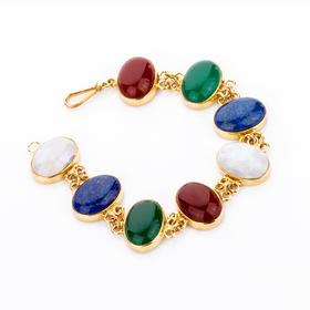 拜占庭多彩大颗宝石手链  材质: 铜镀18K金 蛋白石 玉石老料 青金石 红榴石