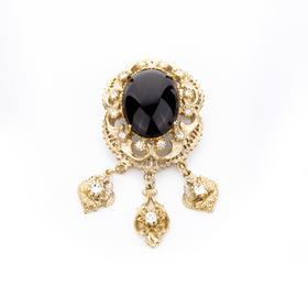 宫廷风胸针 材质:铜镀18K金 锆钻  缟玛瑙 珍珠