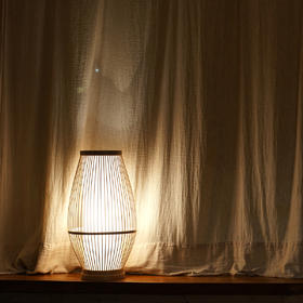 自然家《鼓》 新中式禅意茶室日式竹编台灯