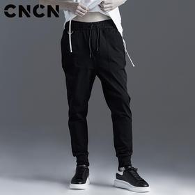 CNCN男装 春季男士束脚裤 黑色潮款系带裤子CNBK11002
