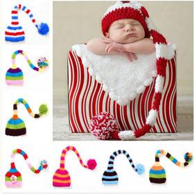 小辛娜娜彩虹蝌蚪帽子编织材料包奶棉线送编织教程宝宝百天照道具