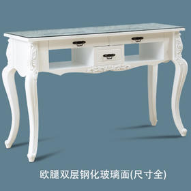 聚乐 欧式双层钢化玻璃面 美甲桌 (六个尺寸任选)发货周期:3-4天