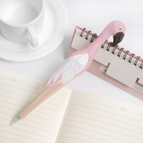 可爱少女心粉红色木雕火烈鸟黑色圆珠笔  文具