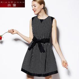 【精选特惠】【骆驼子品牌-小虫】小虫时尚无袖波点修身优雅连衣裙背心裙女 XC4XLY038